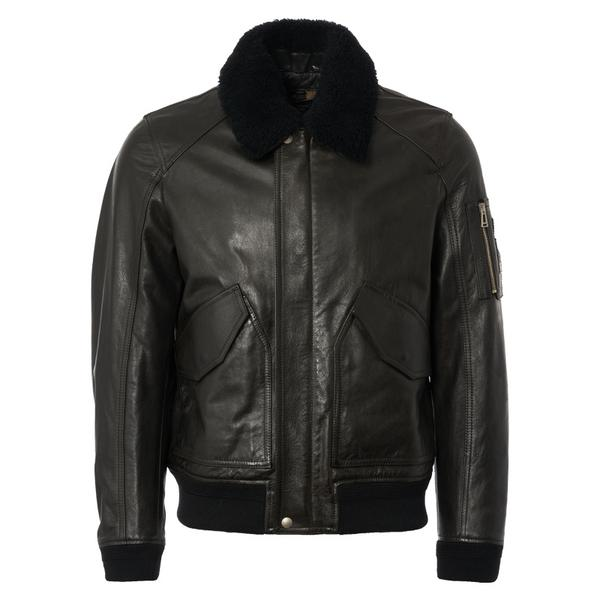 Belfstaff Arne Shearling-Trimmed Leather Jacket