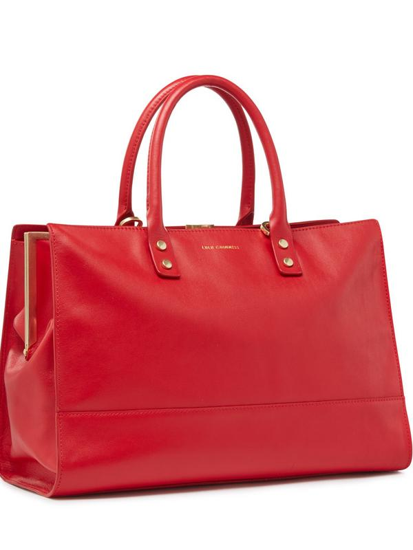 Lulu Guinness Smooth Leather Medium Daphne in Red