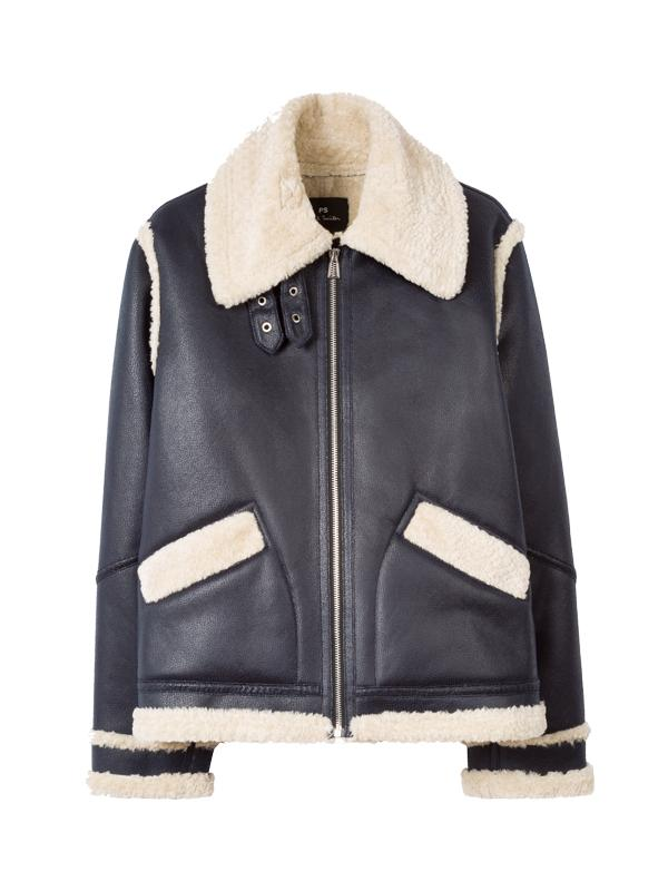 Paul Smith Short Faux Biker Jacket in Navy