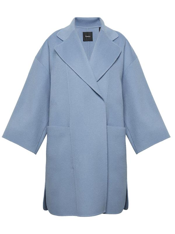 Theory Wool Cashmere Kimono Coat in Grape Mist