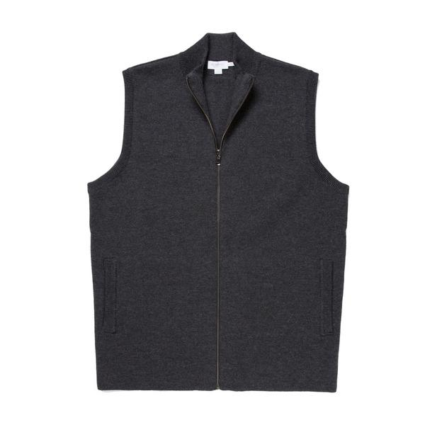 Sunspel Merino Wool Milano Knit Gilet in Charcoal
