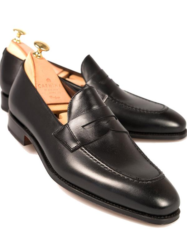Carmina Shoemakers Black Penny Loafers