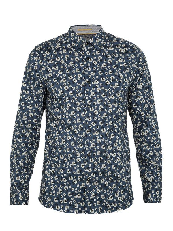 Ted Baker Onion Flower Print Cotton Shirt in Blue