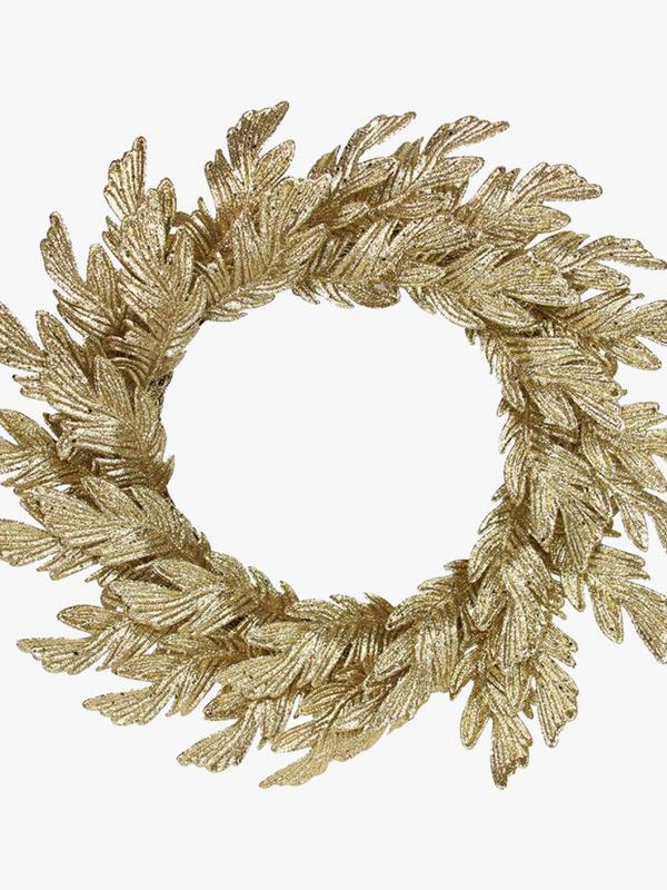 Gisela Graham Gold Glittered Oak Leaf Wreath