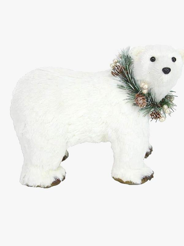 Gisela Graham White Bristle Polar Bear Ornament