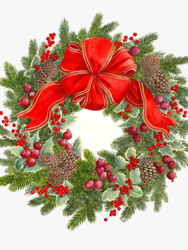 Caspari Evergreen Wreath Die-Cut Placemats