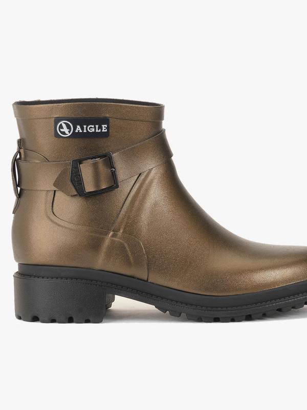 Aigle Macadames Low Boots in Gold Bronze