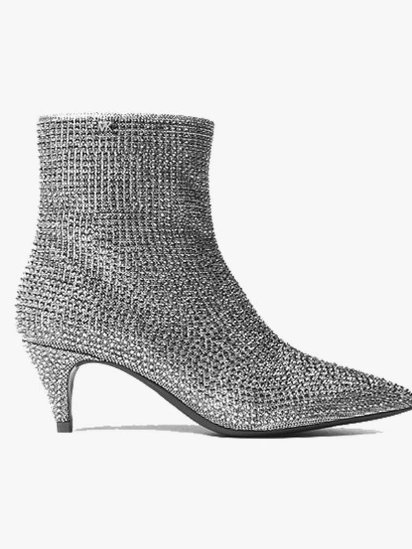 Blaine Flex Embellished Chain-Mesh Ankle Boot