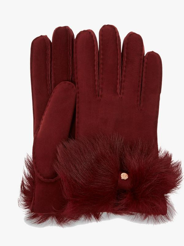 UGG Long Pile Bow Gloves in Port