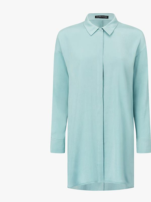 eileen fisher classic collar long silk shirt