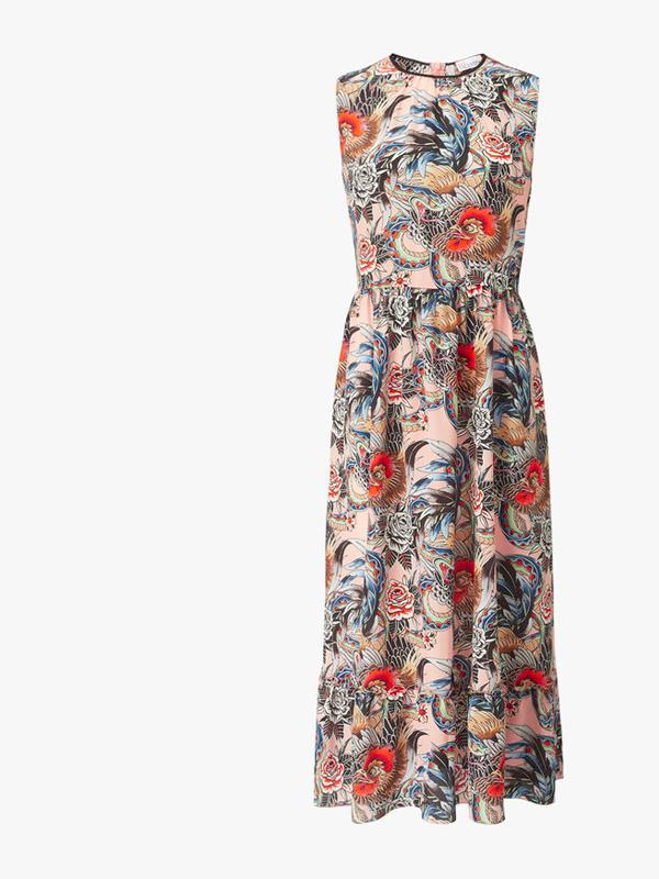 REDValentino-Rose-Print-Long-Tiered-Dress