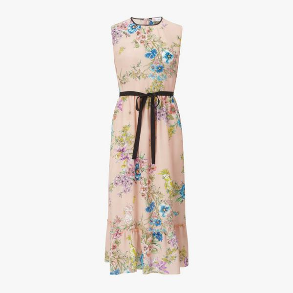 REDValentino-Floral-Print-Contrast-Belt-Dress