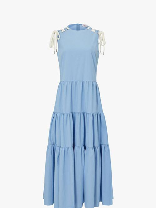 REDValentino Tie Detail Tiered Dress