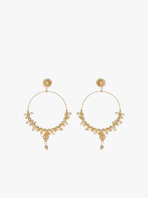 Soru Jewellery Pearl Mega Hoop Earrings