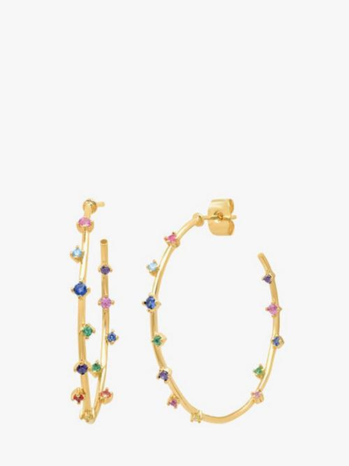 Tai Multicolour Stone Hoop Earrings