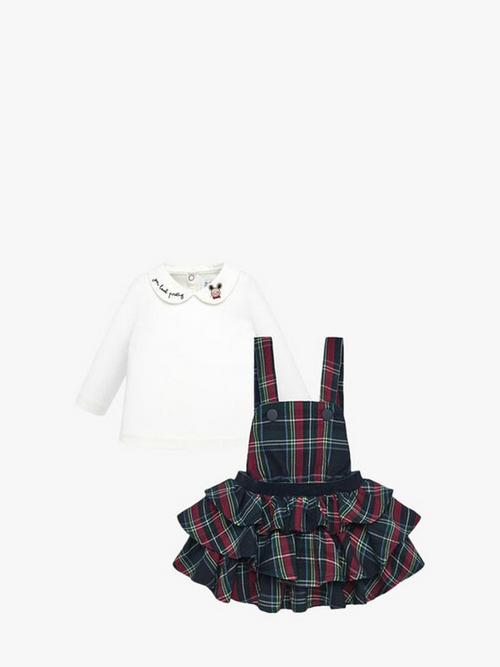 Mayoral T-Shirt And Ruffled Dungaree Skirt Set