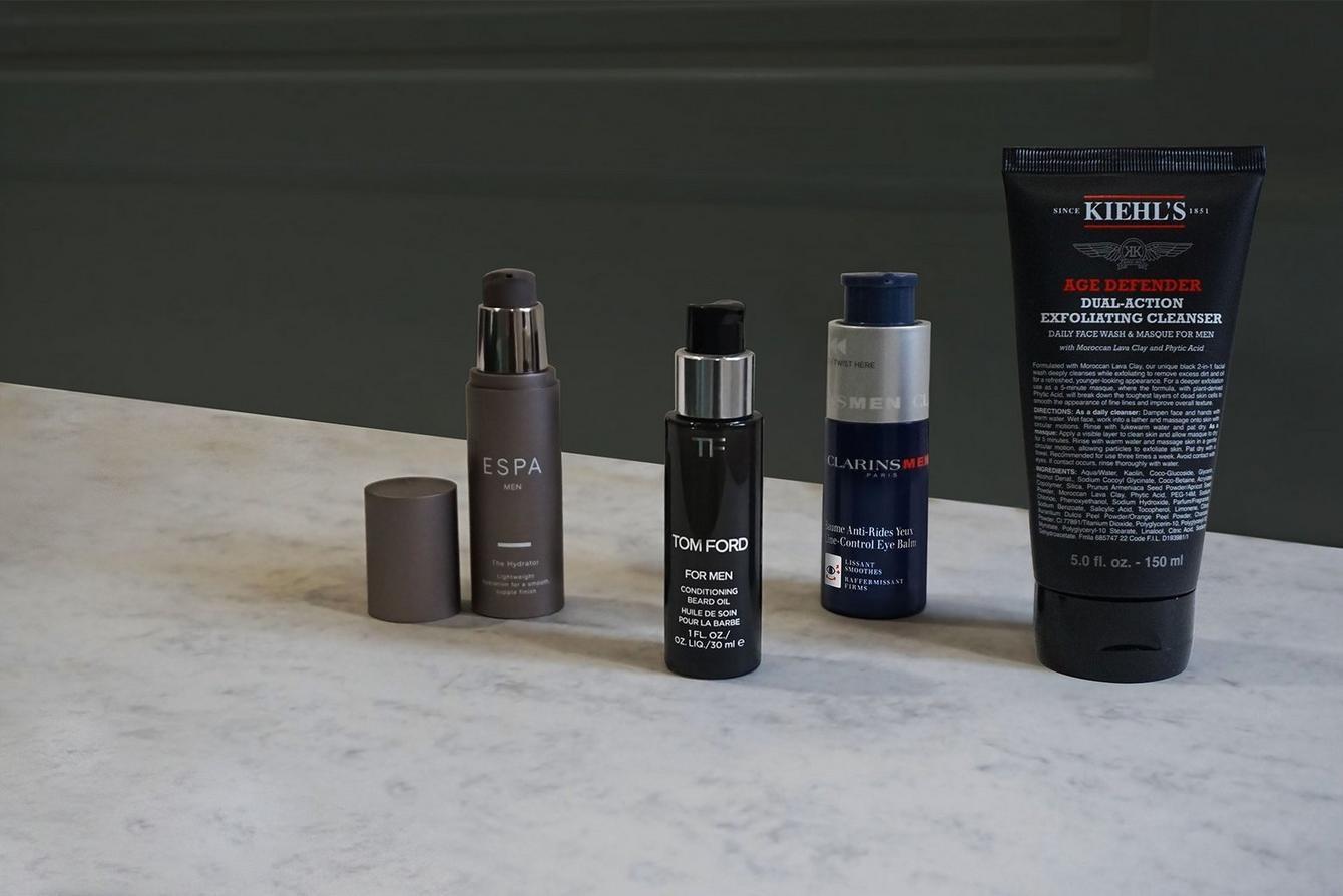 Mens grooming hero image with skincare