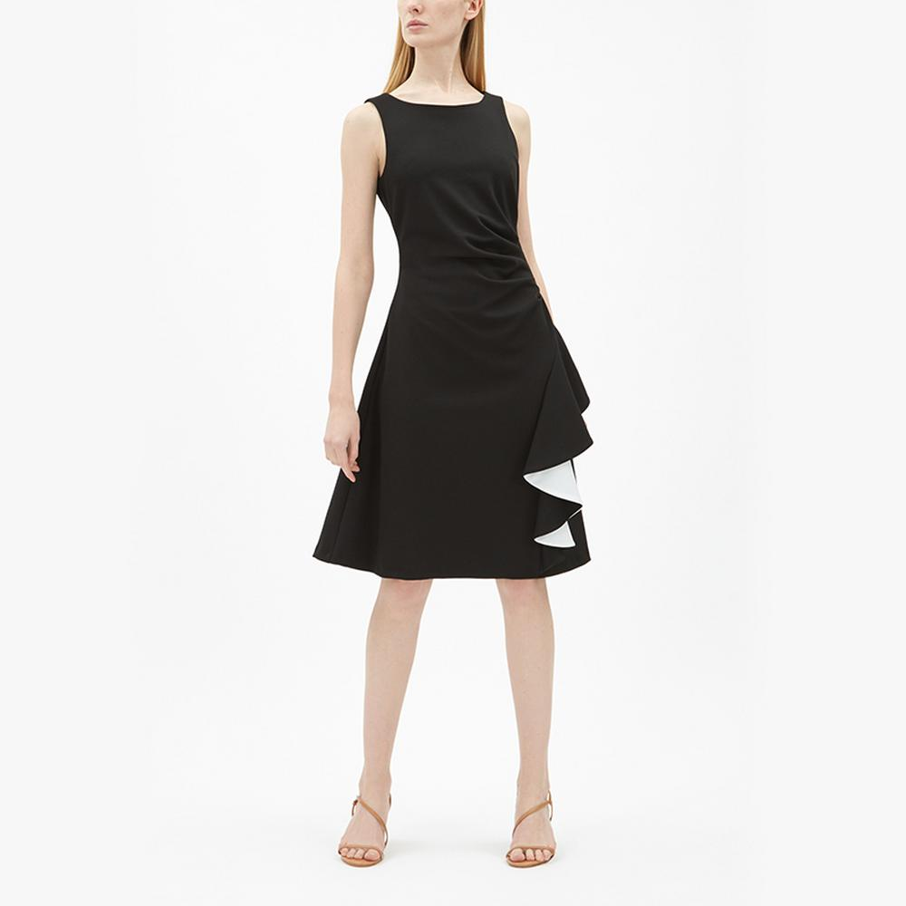 Joseph-Ribkoff-Contrast-Frill-Ruched-Dress