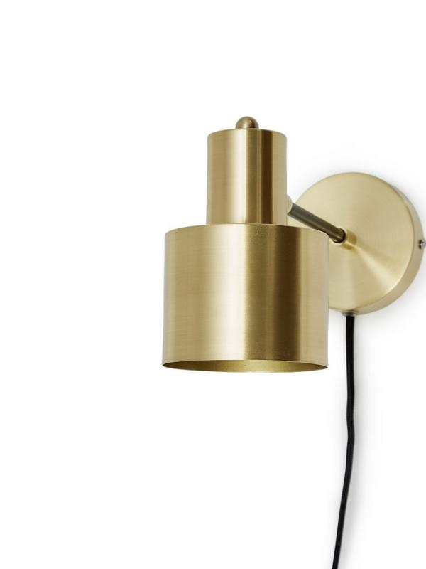 french connection home brass & black wall light