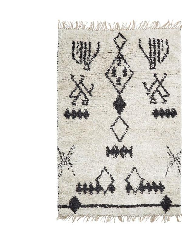 french connection black and white aztec rug