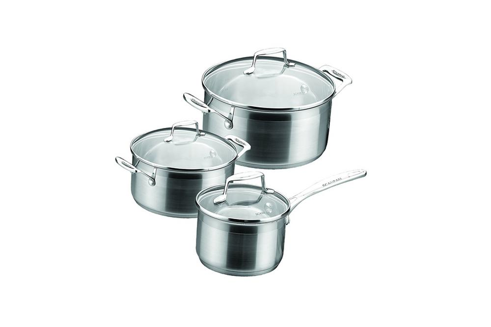 scanpan impact stainless steel saucepan set