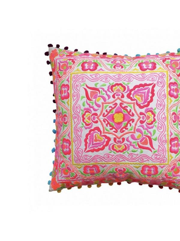 bombay duck tulum embroidered flower cushion