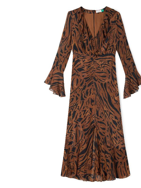 rixo london coleen dress in tiger stripe