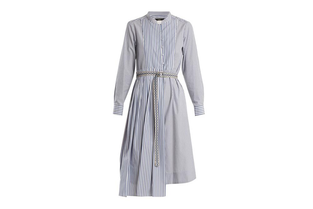 weekend max mara striped cotton belted dress