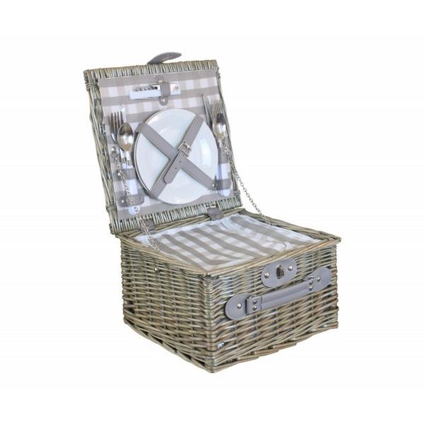 willow direct 2 person grey checked chiller basket