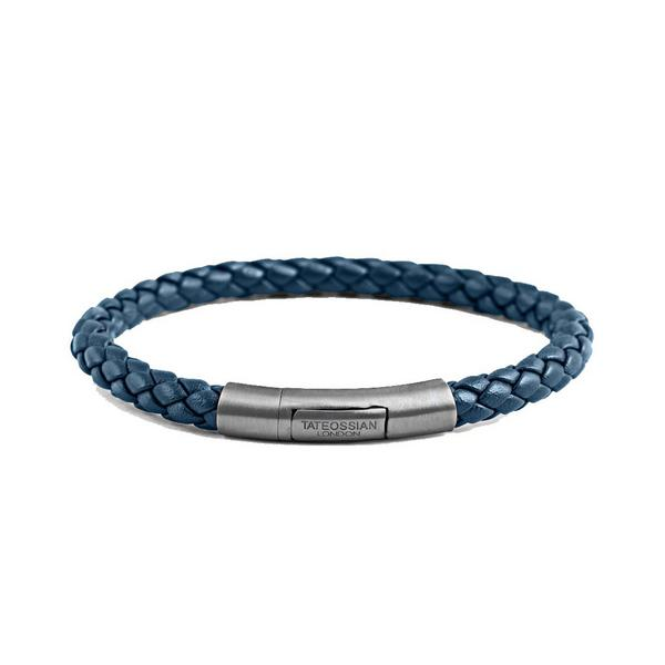 tateossian blue woven bracelet with silver clasp