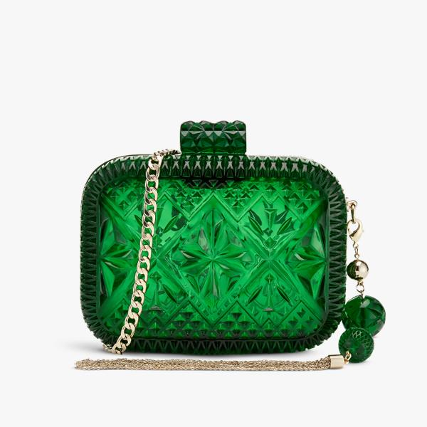 Douglas Poon Hand-Carved Resin Clutch in Emerald
