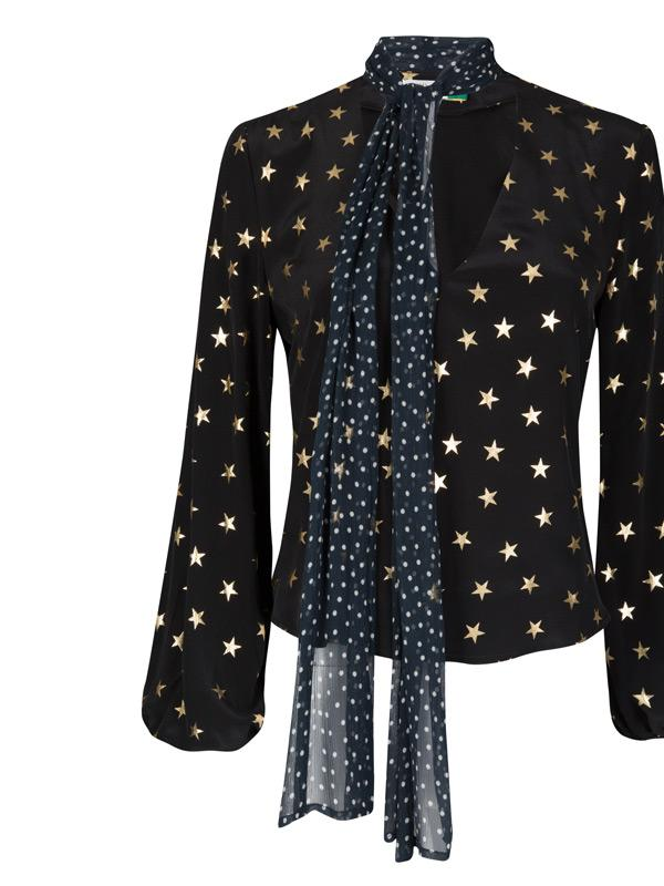 rixo london angie blouse in all star & navy micro