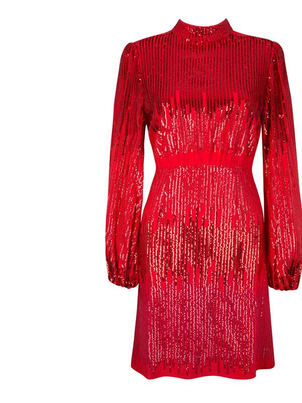 rixo london samantha dress in red ombre sequin