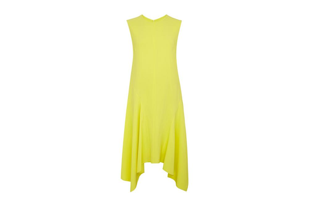 sportmax dip hem dress in lemon yellow