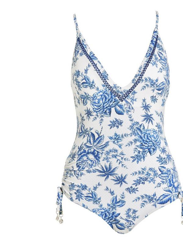 seafolly lovebird deep v malliot swimsuit