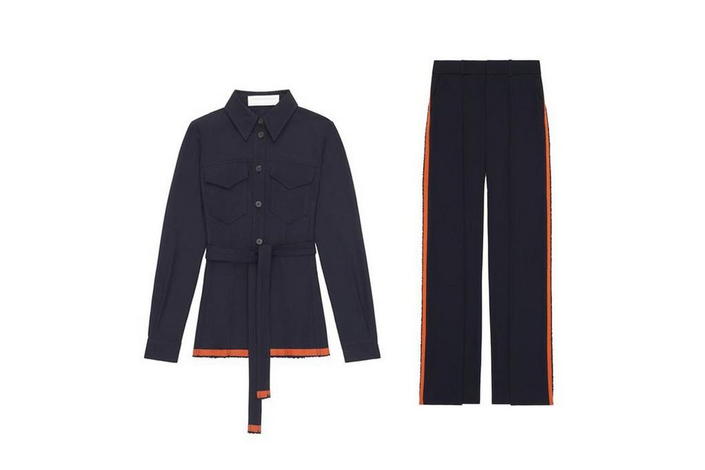 victoria beckham selvedge twill front pleat plant