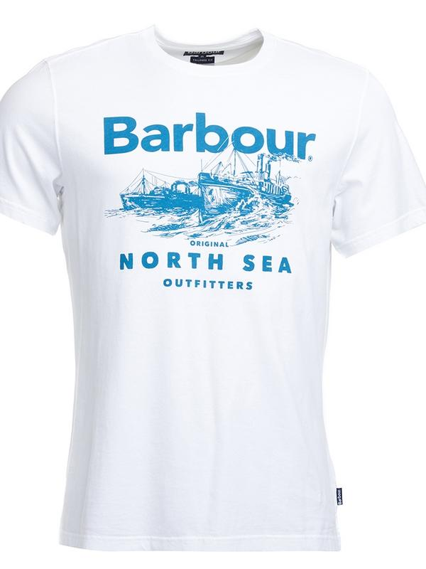 White and blue Barbour Rudd t-shirt