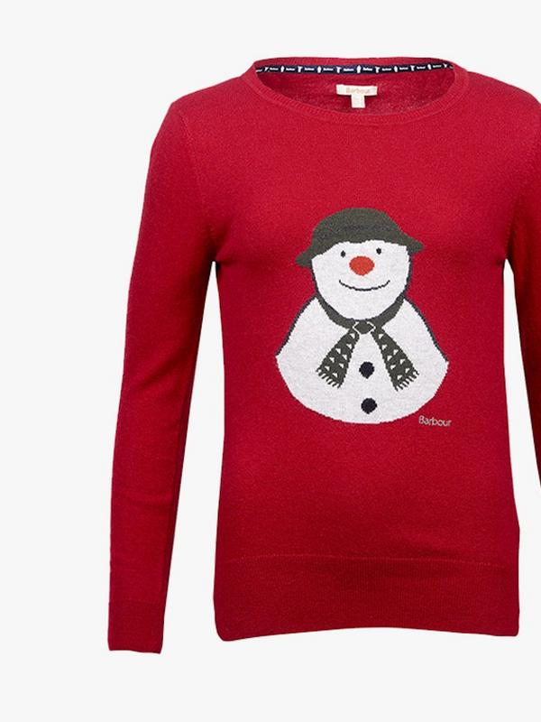 women barbour the snowman highland knitted sweater