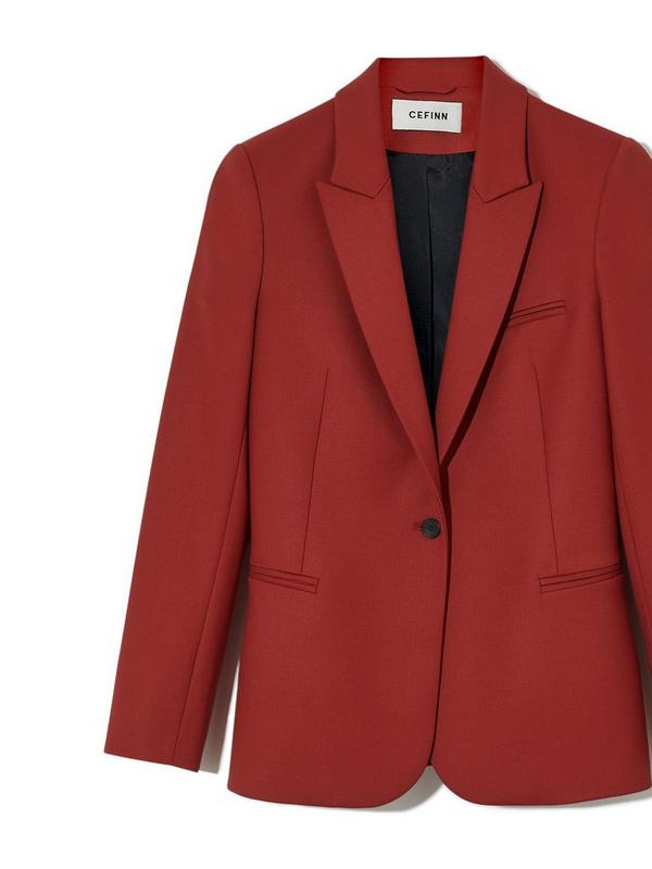 Cefinn Jamie Wool Blend Blazer in Brick Red