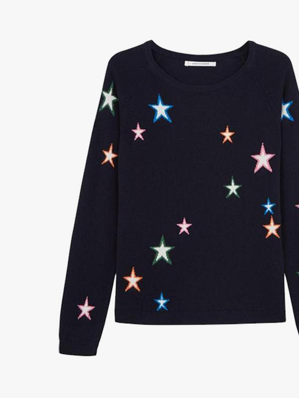 chinti and parker navy star cashmere sweater