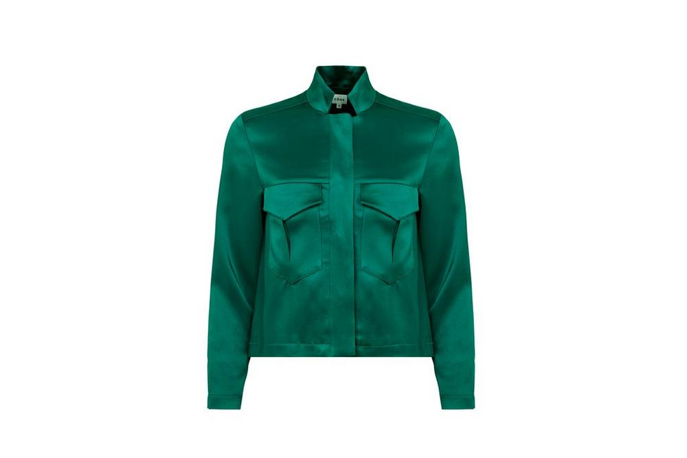 come theo green silk embroidered jacket