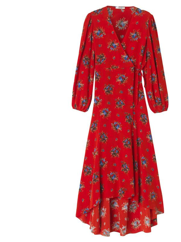 ganni red kochhar wrap dress in fiery red