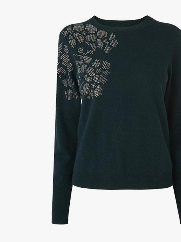 lk bennett uniqua green embellished jumper