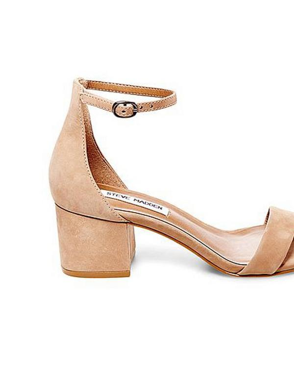 steve madden nubuck block heel leather sandal