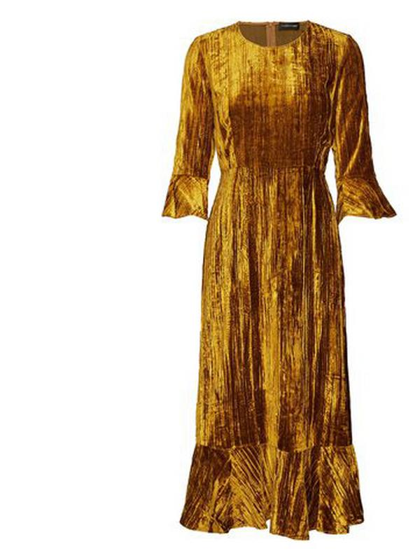 stine goya golden velvet maxi dress