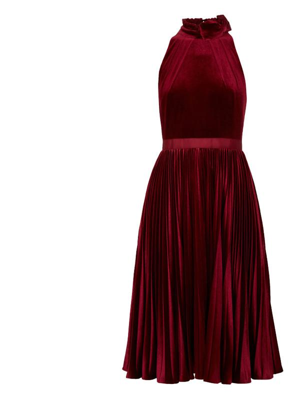 ted baker cornela pleated velvet midi dress