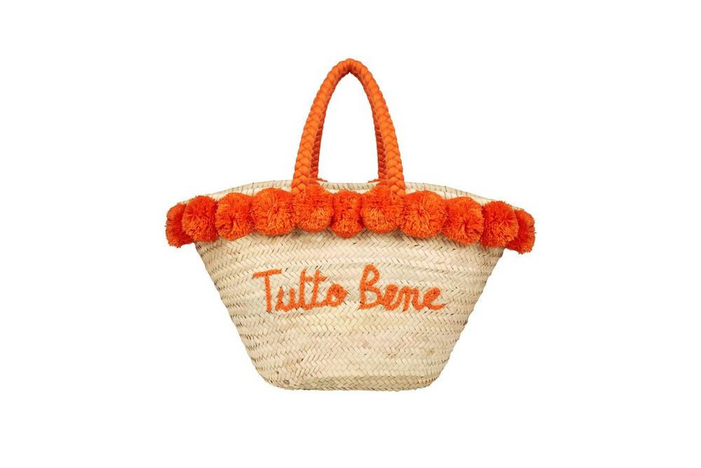 Bombom Large Coral 'Tutto Bene' Straw Bag