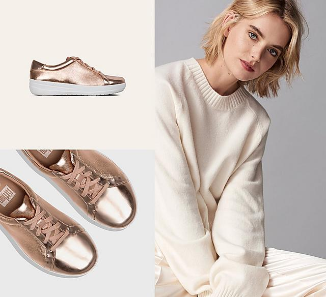 F-Sporty athleisure sneaker in Rose Gold. Featuring super-glossy mirror-metallic faux-leather.