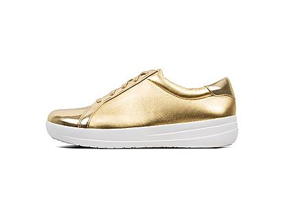 F-Sporty athleisure sneaker in gold. Featuring Metallic glossy faux-leather.