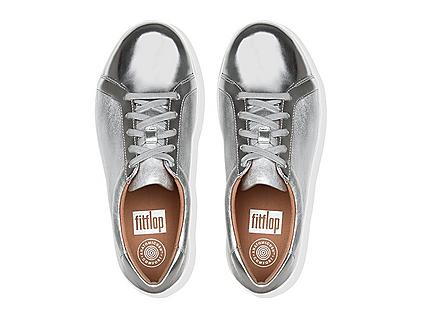 F-Sporty athleisure sneaker in Silver. Featuring Metallic glossy mirror faux-leather.